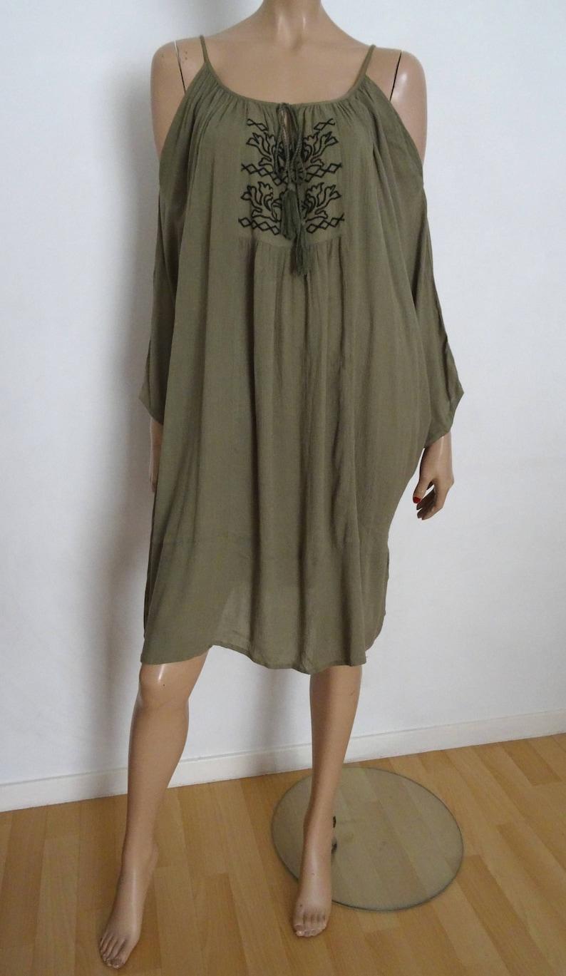 cc298f3557e Khaki embroidery VILA folk tunic dress size L   Etsy