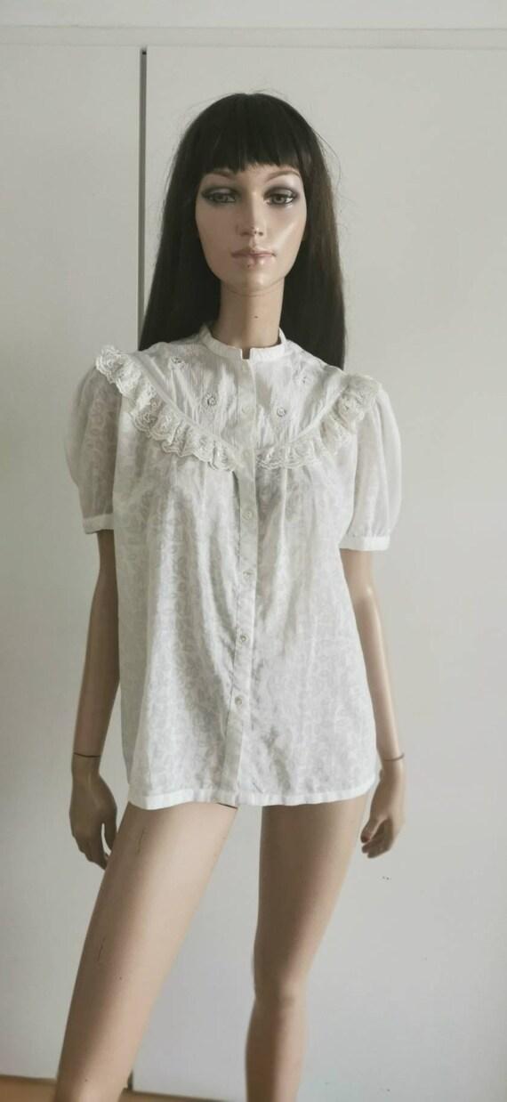 Rene deRHY vintage blouse floral lace size S