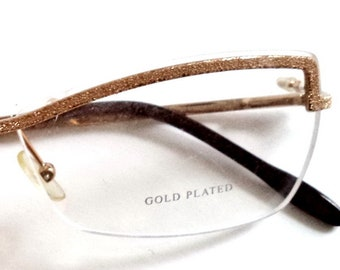 ef55343f73 Boucheron BOU 57 Gold Plated New Womens Titanium Rimless Eyeglasses