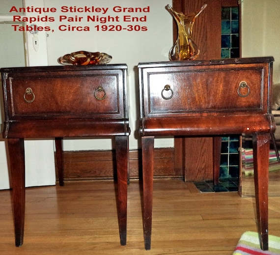 Items similar to Pair STICKLEY antique tables Grand Rapids night end tables  Federal style Mahogany rich wood Empire Revival American Furniture pair lot  on ... - Items Similar To Pair STICKLEY Antique Tables Grand Rapids Night End