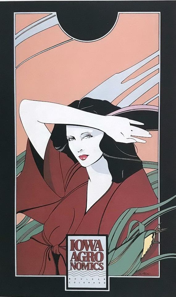gift Original 80s Patrick Nagel Print Park South Gallery Poster Naked Pinup Art Deco Disco Vintage Litho 9 x 12 man gift wall art frame