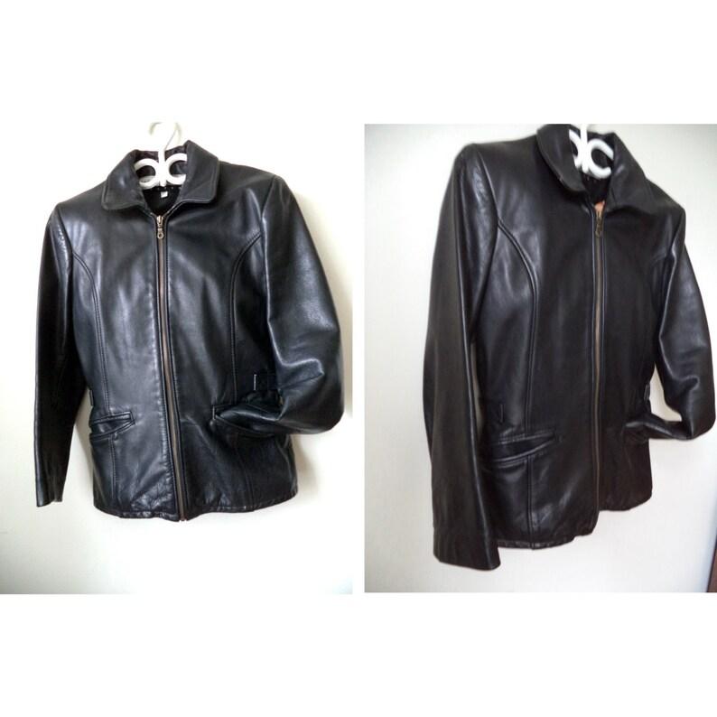 55bdef247dc Bod & Christensen Black Leather Moto Biker Jacket Hipster | Etsy