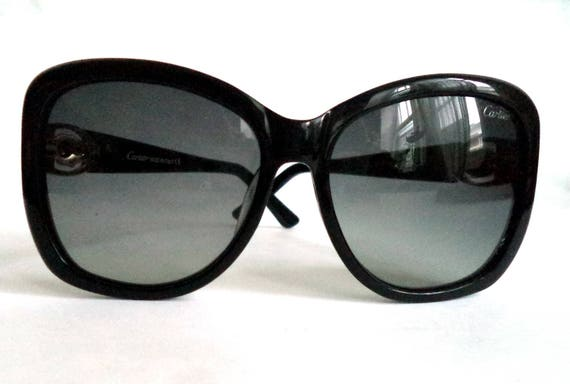 aab9454bde CARTIER Panthere Oversized Black Sunglasses 58-16 Gold