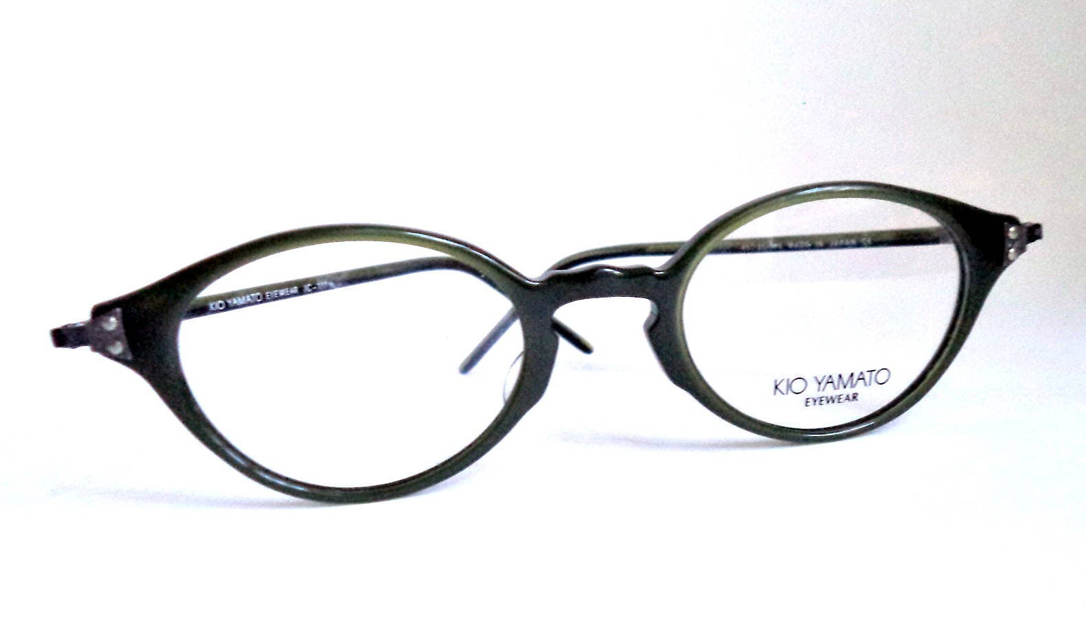 Kio Yamato Japan Cateye NOS Eyeglasses Green Horn Rim Antique