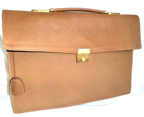 9af420625514 Vintage NEW Buxton Tan Leather Briefcase Attache Tote Bag