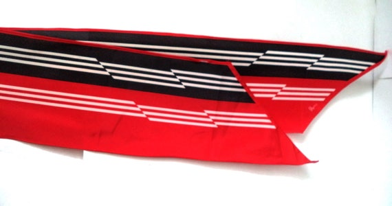 Vera Neumann scarf Red Black Striped Long Shawl, V