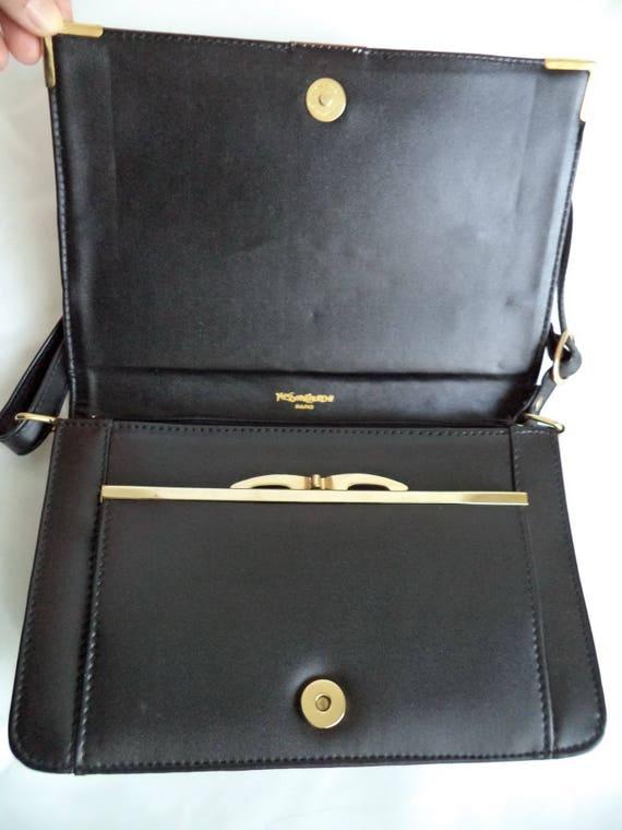 classic style of 2019 designer fashion kid Vintage YSL black Baguette Clutch Bag Purse, Yves Saint Laurent Equestrian  Bag, Black Cognac YSL Satchel Coin Purse, ysl 80s Handbag, gift