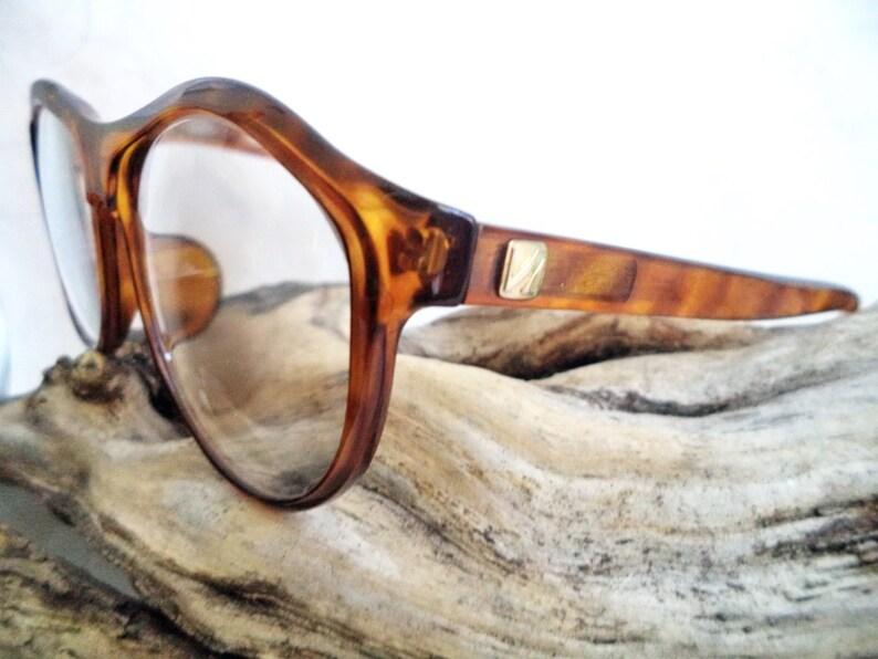 ef46af7682 60s Viennaline Round Horn Rim Eyeglasses Amber Tortoise thick
