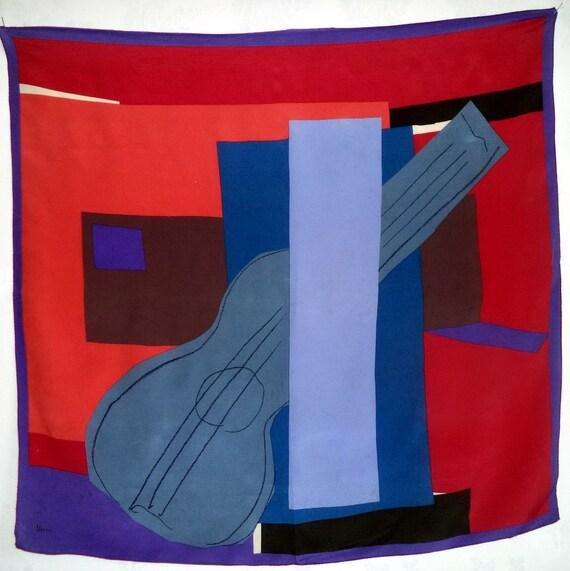 Vera Neumann Picasso Scarf Guitar Silk Cubist Red