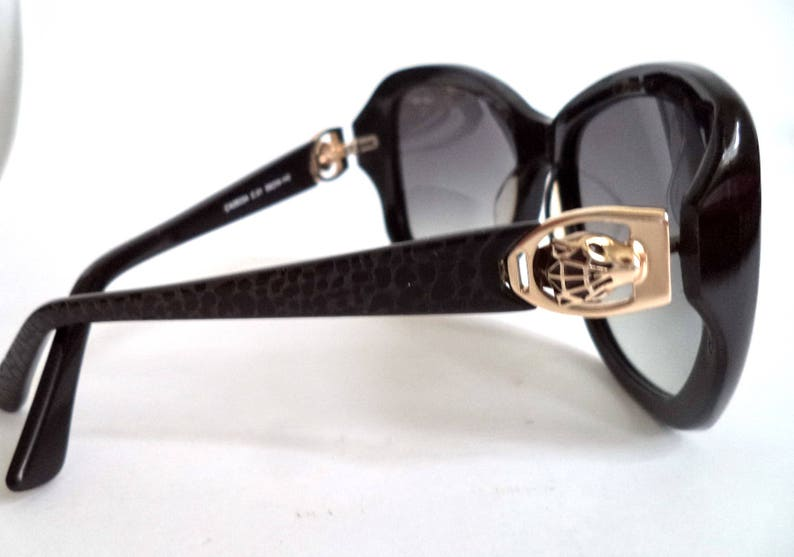 3cf0a05e9f CARTIER Panthere Oversized Black Sunglasses 58-16 Gold