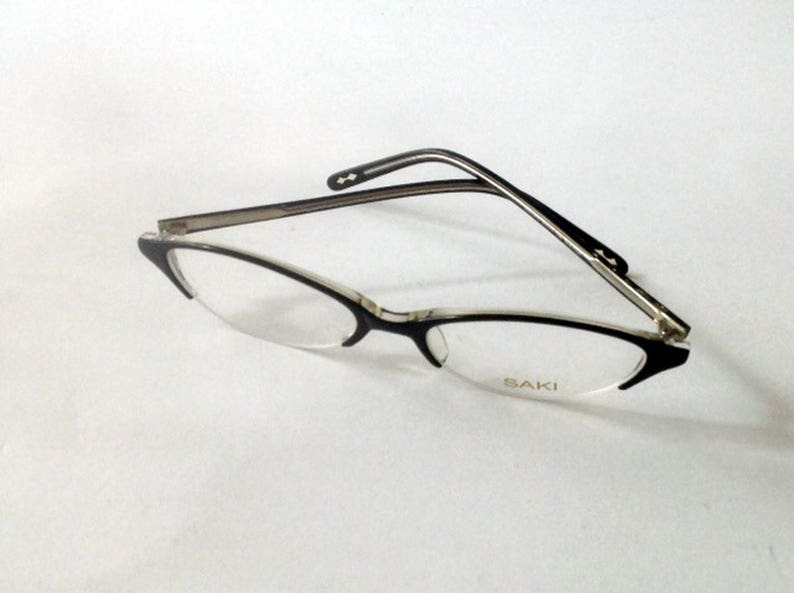 59404a47bdb9d SAKI Japan Cateye Eyeglasses Black Clear Half Rim Luxury