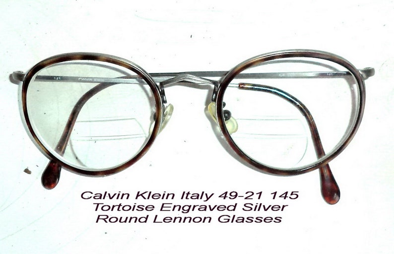 1d6d7b577aa 80s CK Round Tortoise Silver Wire Rim Eyeglasses 49-21 Calvin