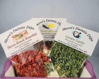 Dip Mixes by SherriLynns- Free First Class  Shipping -3 packages of Dip Mix - Graduation Party- Seasoning Mixes-Gourmet Food Mix-Party Food