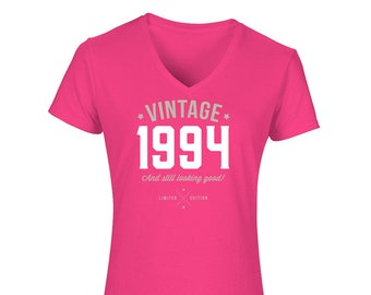 d2f9811bc4 25th Birthday, Women's V-Neck, 25th Birthday Idea, 25th Birthday Present,  or Birthday Gift. 1994 Birthday, For The Lucky 25 Year Old!