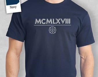 50th Birthday, 1968 Birthday, 'Roman Numerals' Birthday Idea, Birthday Present, 50th Birthday Gift. 50th Birthday Shirt For an 50 Year Old!