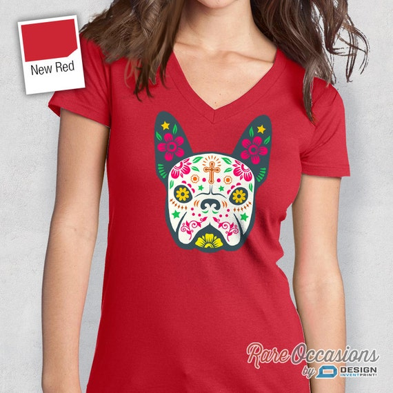 Day of the Dead Pitbull Juniors T-shirt Painted Pitbull Sugar Skull
