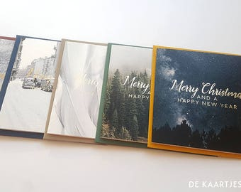 Christmas cards print and goldfoil