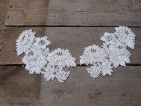 Vintage off white floral and beaded neckline applique etsy