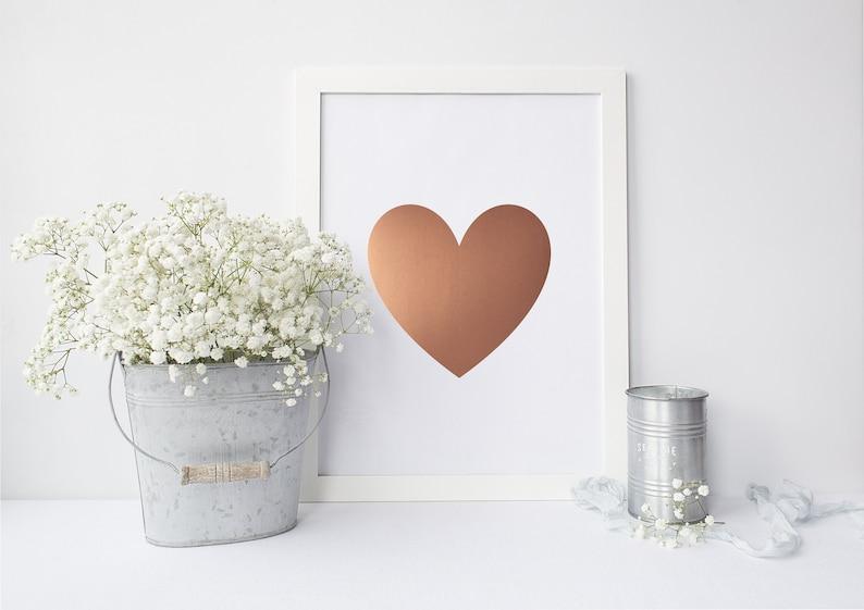 Gold Foil Print Heart  Foil Heart Art Print  Foiled Art image 0