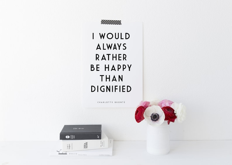Charlotte Bronte  Literary Print  I Would Always Rather Be image 0