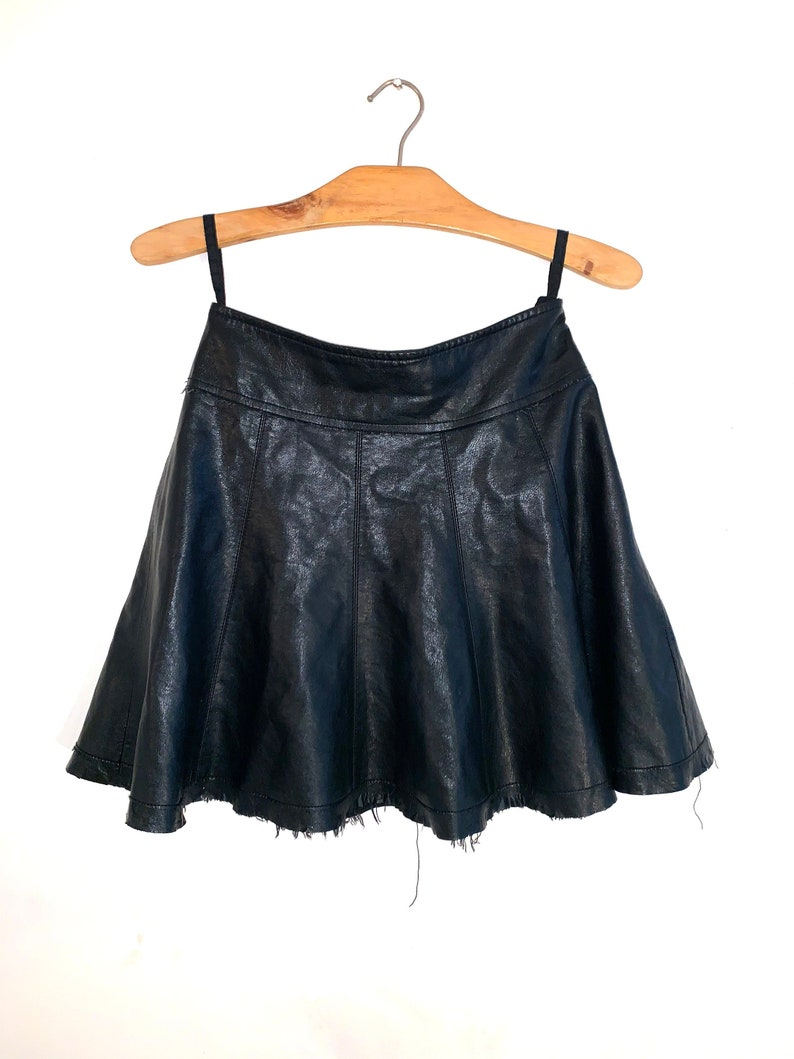 e5675891319c39 90s Frayed Black Leather Skater Skirt Size Small | Etsy