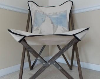 Tripolina Folding Chair With French Art Deco Ski Poster Style Cover In  Natural Canvas