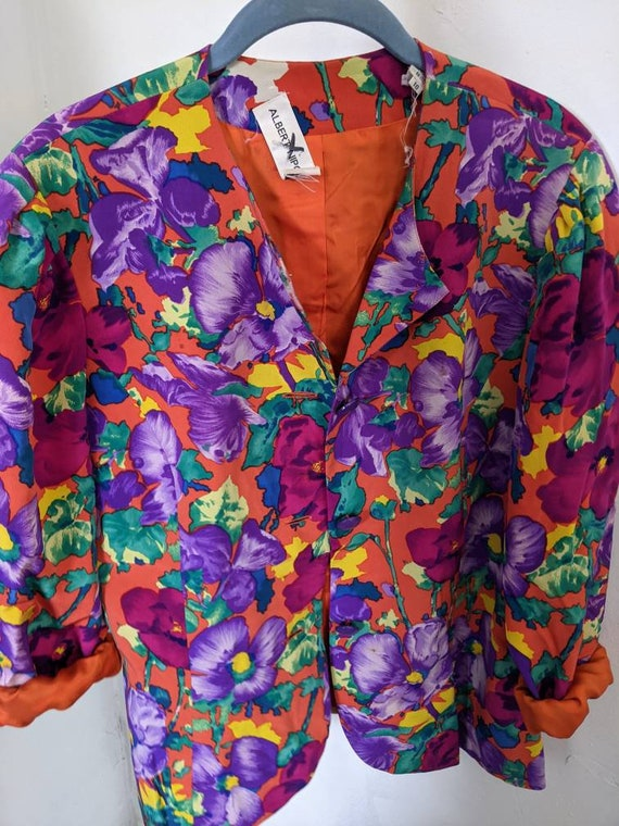 Vintage 80s Albert Nipon pure silk floral skirtse… - image 3