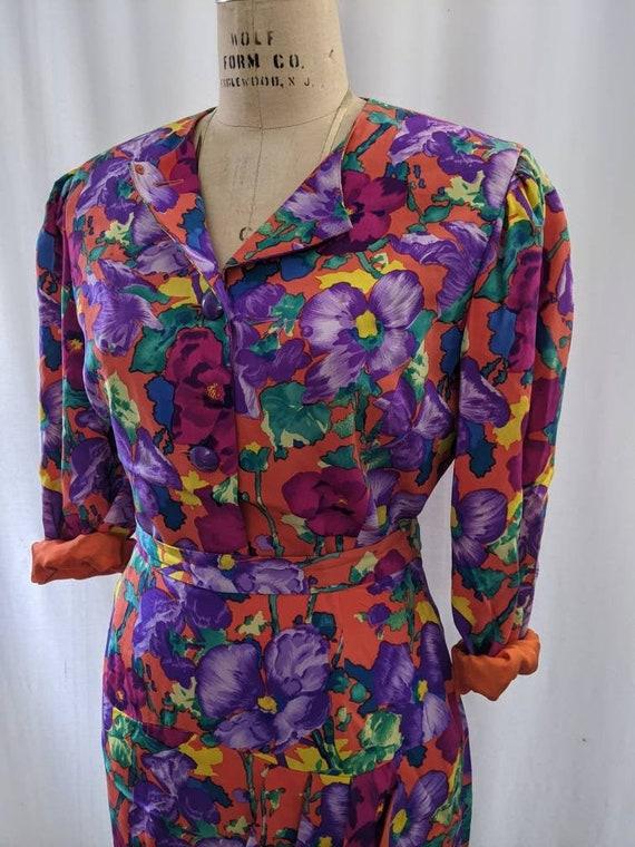 Vintage 80s Albert Nipon pure silk floral skirtse… - image 2