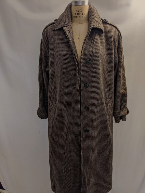 70s Vintage Anne Klein II wool tweed maxi coat si… - image 3