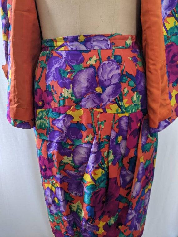 Vintage 80s Albert Nipon pure silk floral skirtse… - image 5