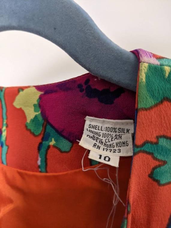 Vintage 80s Albert Nipon pure silk floral skirtse… - image 7