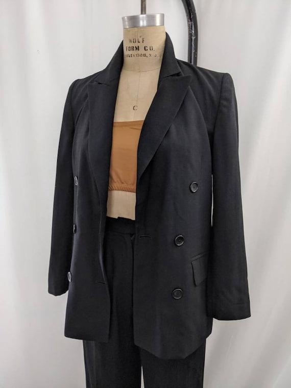 Vintage worsted wool black pant suit / cropped pan