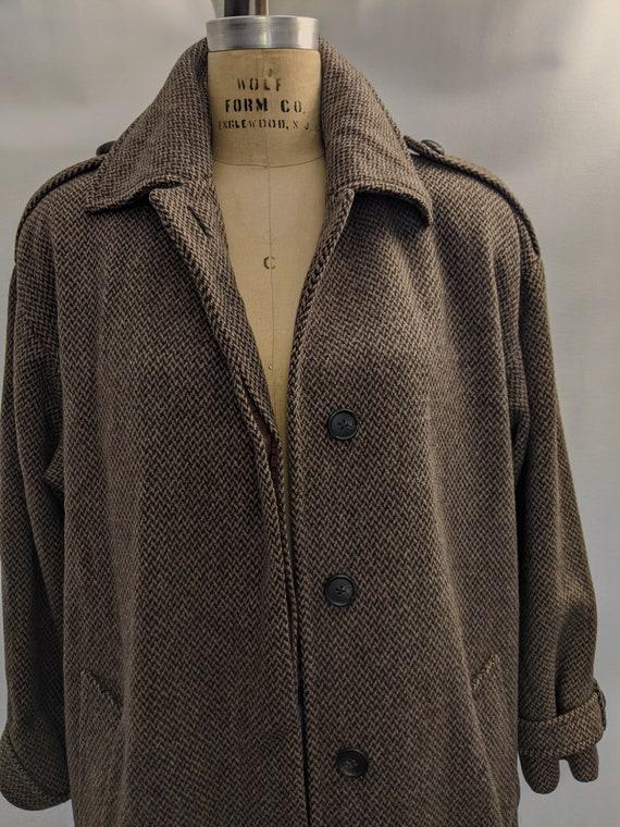 70s Vintage Anne Klein II wool tweed maxi coat si… - image 2