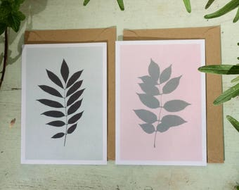 Greeting card with botanical print, A6, folded, blank inside, with envelope.