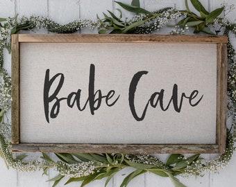 Babe Cave // 17 x 9 Handmade Sign