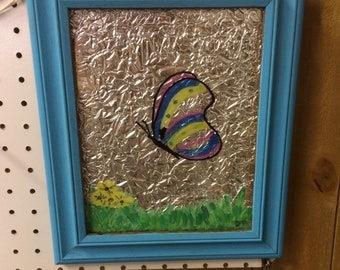 Butterfly painted glass frame wall sign