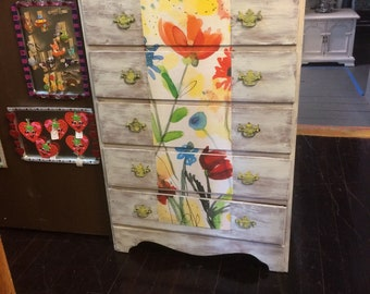 Flower Decoupage 5 Drawer Dresser Vintage Distressed