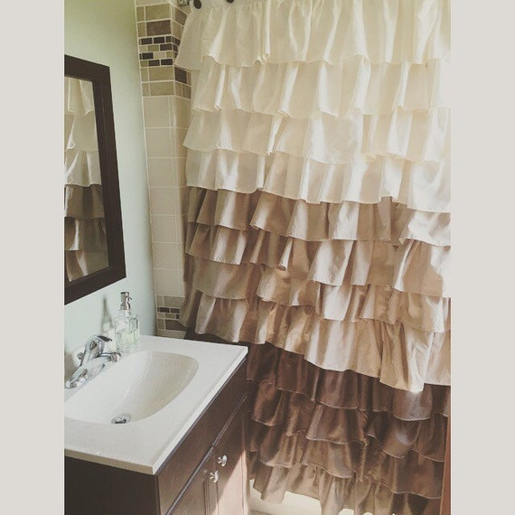 Brown Tan And Beige Ruffled Shower Curtain Can Be Custom