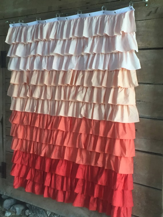 Coral Ombre Ruffled Shower Curtain