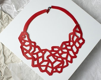 CORAL. Bib necklace eco-leather, contemporary jewelry, handmade jewelery, modern necklace, gift for her