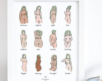 I AM feminist body divertsity art print illustration  Minimalist hand-drawn illustration, inkjet print, feminist, mantras, affirmations