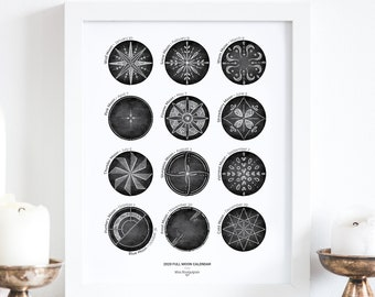 2020 Full Moon Calendar   Minimalist hand-drawn illustration, Black and white inkjet print, wicca, pagan, witchcraft calendar