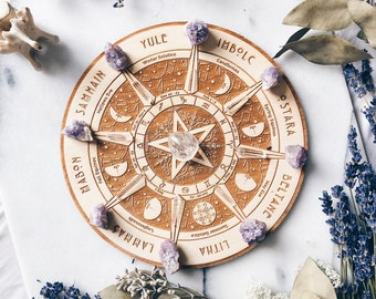 Wheel of the year   Minimalist engraving on natural wood, Witch, Pagan, Wicca, sabbats, Celtic calendar moon phases, astrology