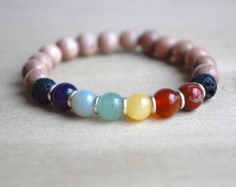 Energy Bracelet / yoga gift for mom, 7 chakras bracelet, seven chakras, gift for yoga mom, statement bracelet, yoga lovers, group 10