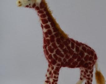 Needle felted giraffe, Felt giraffe, needle felting, needlefelt, handmade, sheep wool, felted sculpture