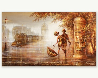 Original Impasto Oil Painting , Gold Silver Painting , Minimalist Canvas Textured Painting Unique Metal Art Deco Canvas Painting