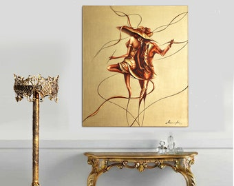 Dancers Oil Painting Gold Modern Painting Oil on Canvas Pallet Knife Original Art Wall Art Painting , Unique gift , holiday sale