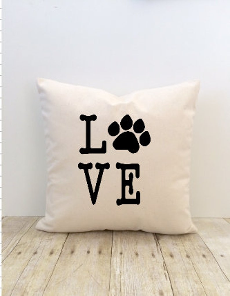 Dog Cat Pet Pillow Cover Love Paw Print Animal Cat Lover Etsy