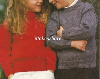 Knitting Pattern Easy Boys/Girls/Children's Polo Neck & Crew/Round Neck in 4 Versions of Yarn DK /Worsted,Aran,4 Ply and Chunky size 22-32in