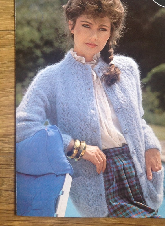 a2864734a7c011 Knitting Pattern Ladies Women s Mohair Lace Panel Cardigan